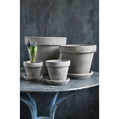 Grå terracotta krukke, klassisk, enkel urtepotte